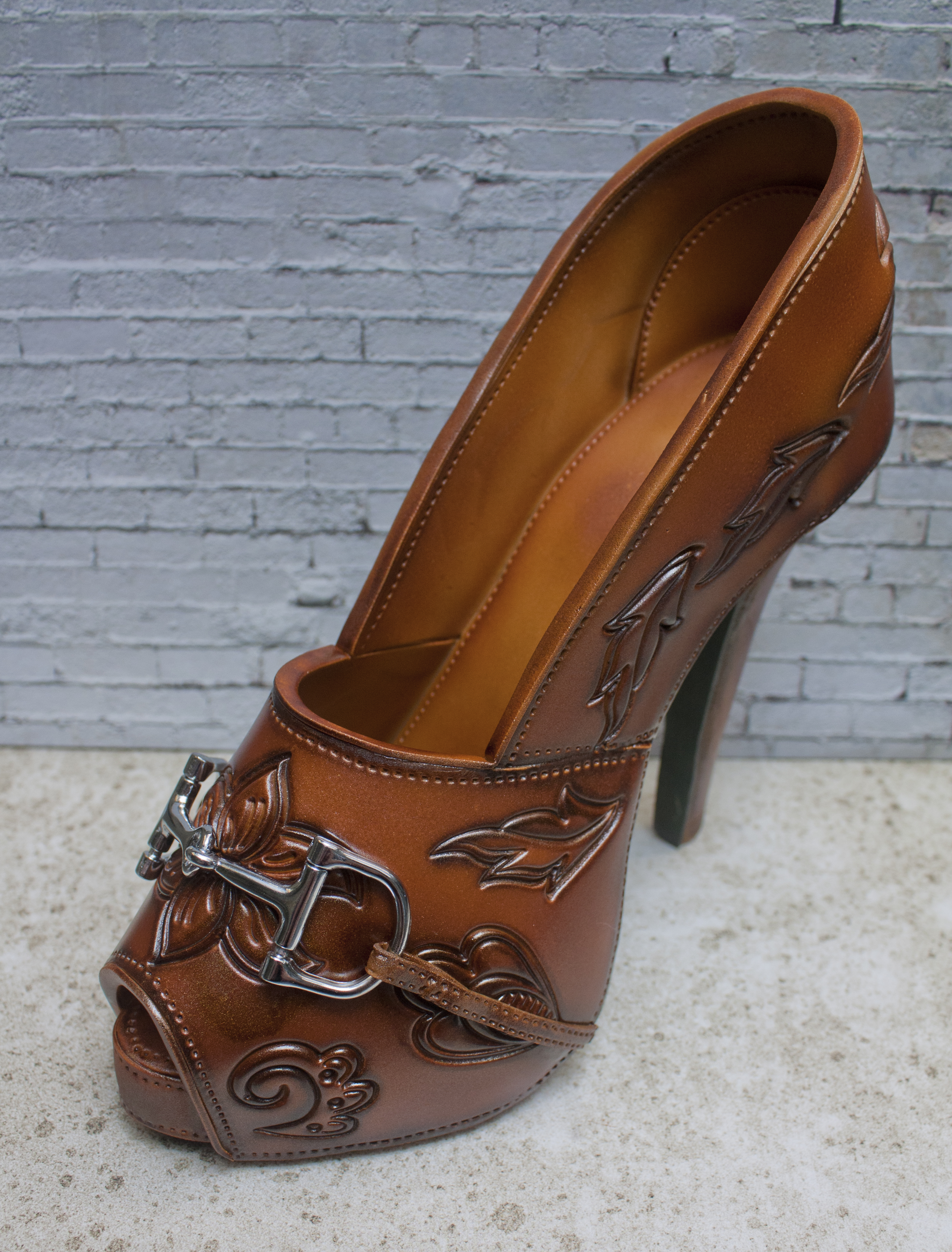 Tooled leather stiletto by Jo Orr
