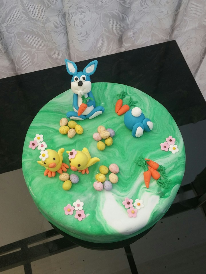 Easter Bunny and Chicks Cake by Heather Dateling