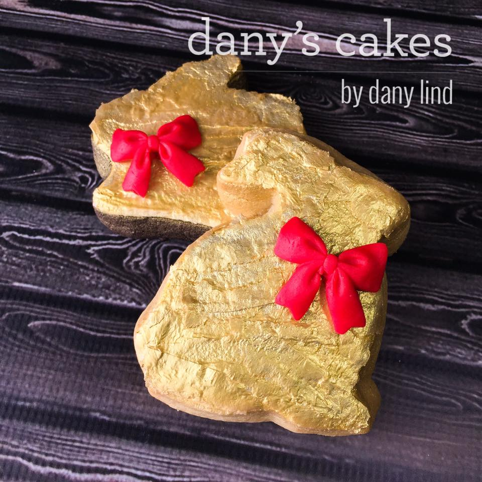 Gold Chocolate Bunny Cookies with Red boy by Dany Lind - Dany's Cakes