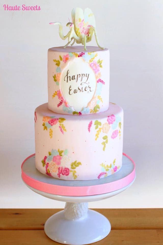 2 tier flower painted easter cake by Hiromi Greer
