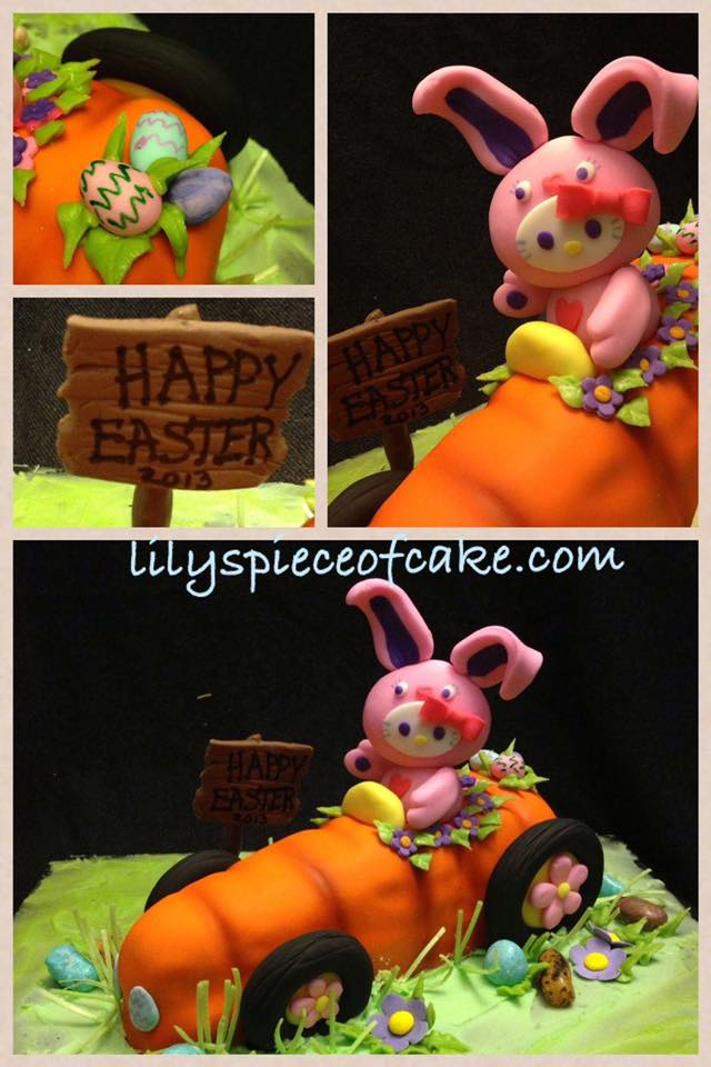 Bunny riding a carrot car cake by Lily Wu - LilysPieceofCake.com