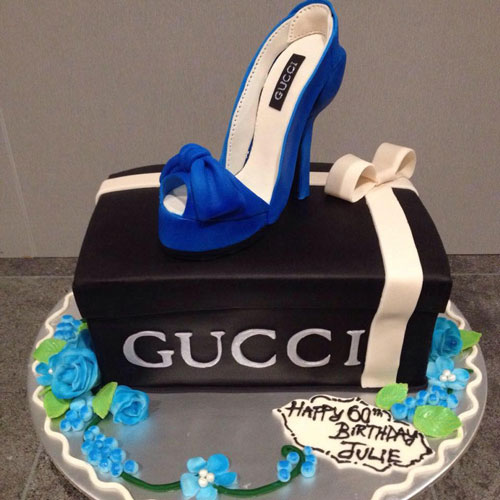 Gucci Shoebox cake and blue gumpaste stiletto by Angela-Leydon-Elliott‎