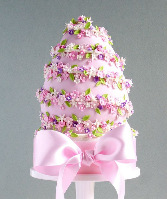 Pink Floral Easter Egg Cake by Made With Love