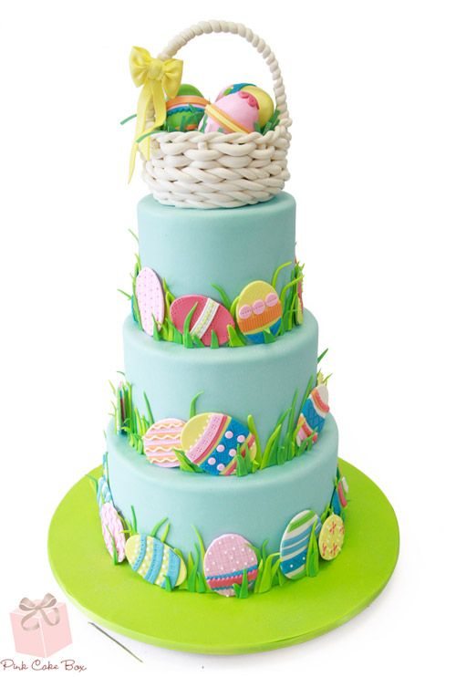 Three tier with Easter Basket cake topper by Pink Cake Box