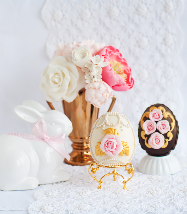 Ornate pearl and rose Faberge inspired egg by Lulus Sweet Secrets