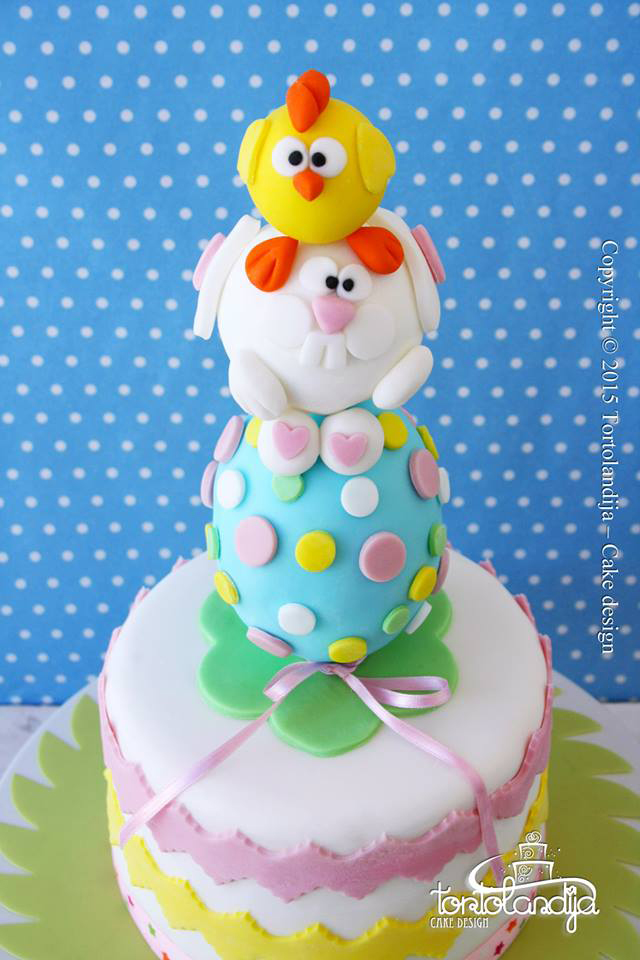 Easter egg, bunny and chick stack cake by Tortolandija