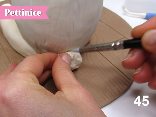 Step 45: Use your clay shapers to create texture.
