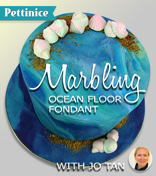 Ocean floor tier.  How to marble your fondant with Jo Tan of Scrumptious Cake