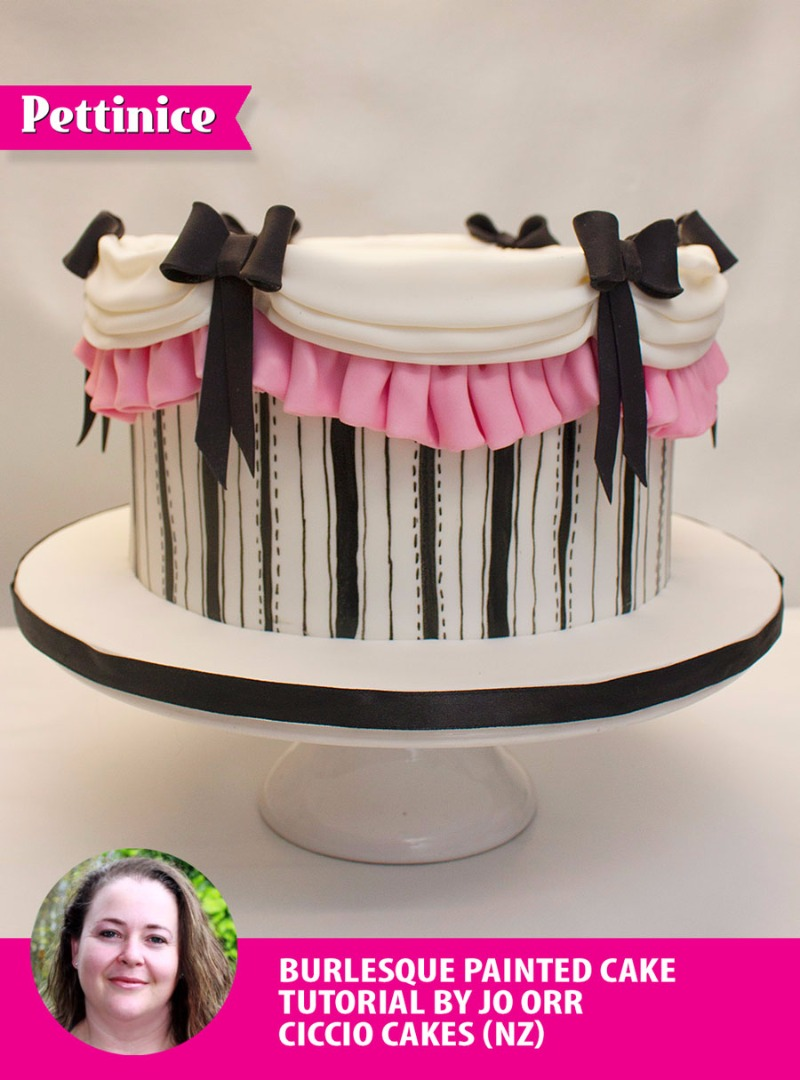 Pretty, painted, and pleated burlesque cake with Jo Orr
