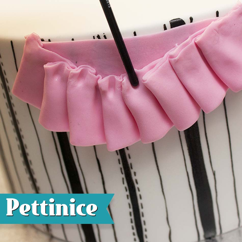 Using the other end of your brush, or a Dresden tool, press in the middle of each pleat.