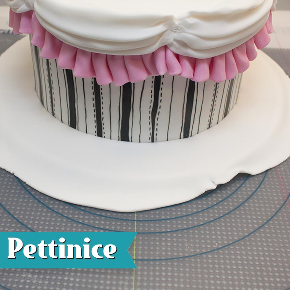Place the front of the cake at the front edge of the cake and wrap the fondant around the cake.