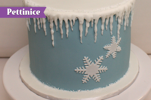 Attach snowflakes to cake as desired.