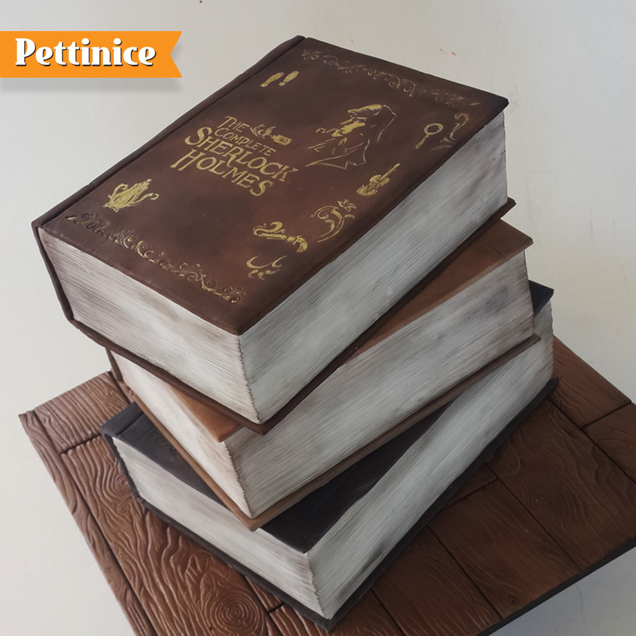 3D stacked book cake