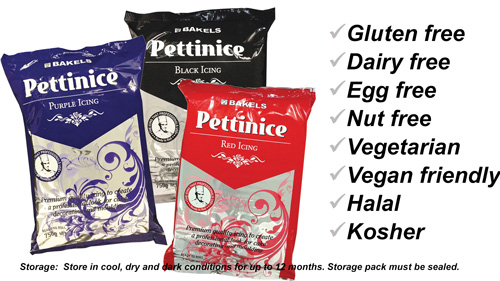 Pettinice fondant is gluten free, dairy free, egg free, nut free, vegetarian, vegan friendly, halal and kosher.