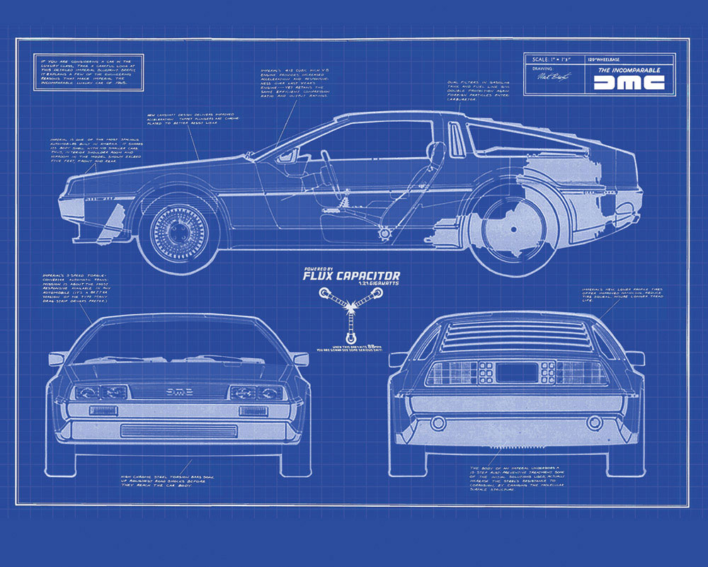 Back to the Future cake DeLorean DMC-12 blueprint