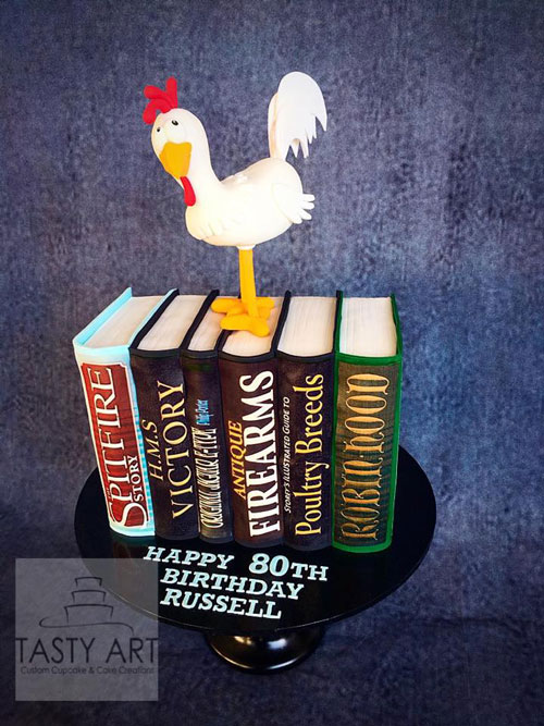 Chicken on books cake by Angela Leydon Elliott