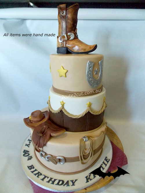 Cowboy hat and boots cake by Kerrry Lacey
