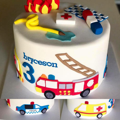 Emergency vehicle cake by Courtney