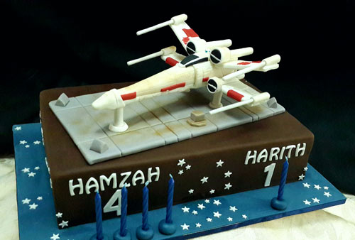 Star Wars X-Wing fighter jet cake by Najat Ahmad