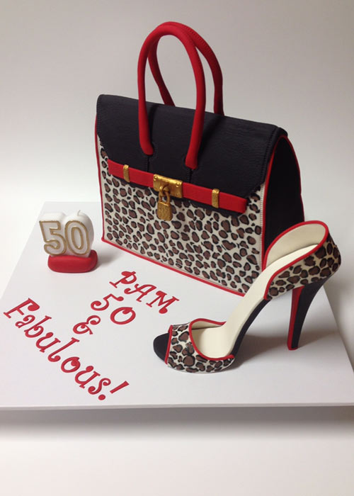 Hermes bag and fondant shoe cake by Yiota Borg