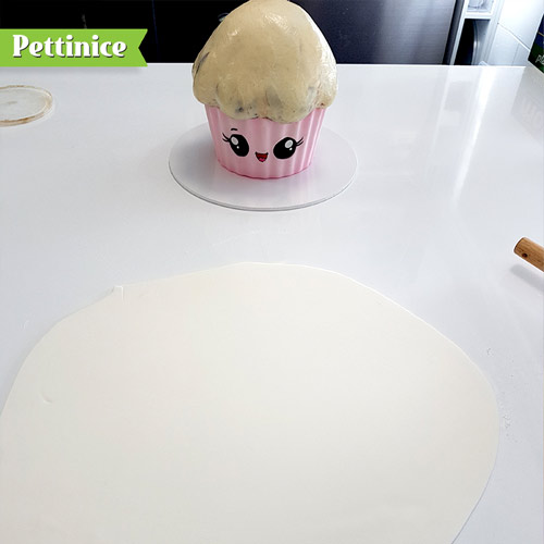 Use crisco or hot water to make the icing sticky preparing it for fondant.  Roll out your white fondant in a large circle shape.