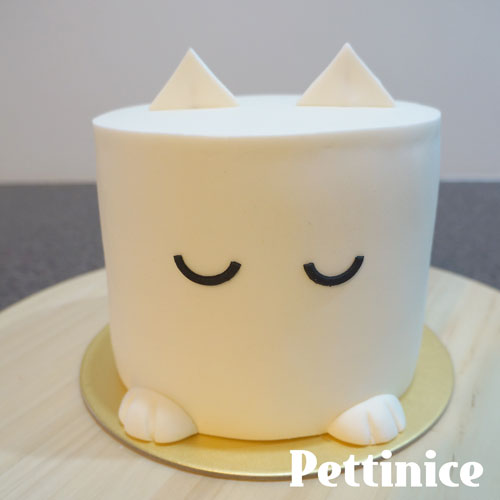 Use a little water to stick eyes to the fondant.