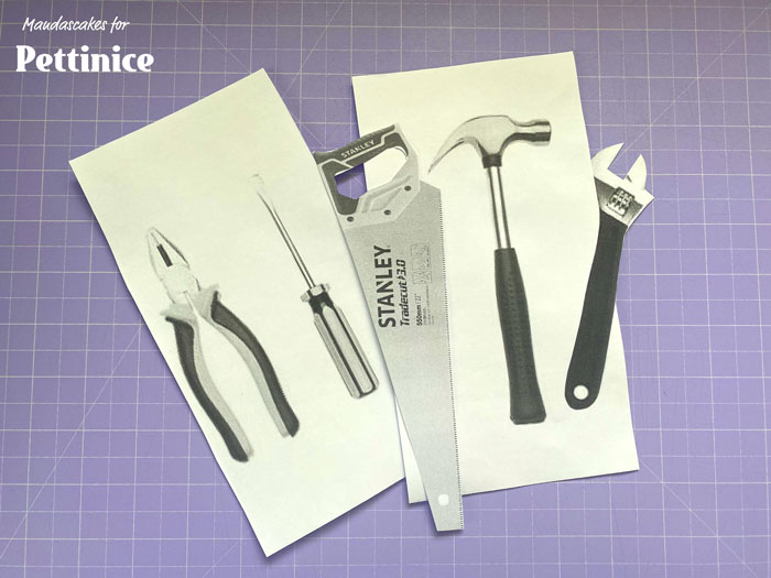 Print out some tools of your liking from the internet.  Firstly I work on all the silver/grey/metal parts of the tools. Cut out the saw and spanner tools and the tip of the pliers, don't worry about the others, they are just a guide.